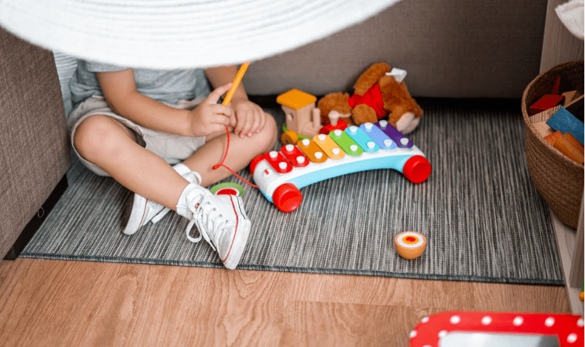 Child and xylophone